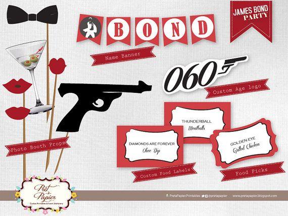James Bond Party Printable set by PretaPapier on Etsy, $35.00