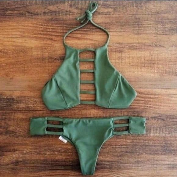 High neck olive green cut out bikini set Brand new never worn!! New without tags. Has pads but not push up. Only listed as vs for exposure. Victoria's Secret Swim Bikinis