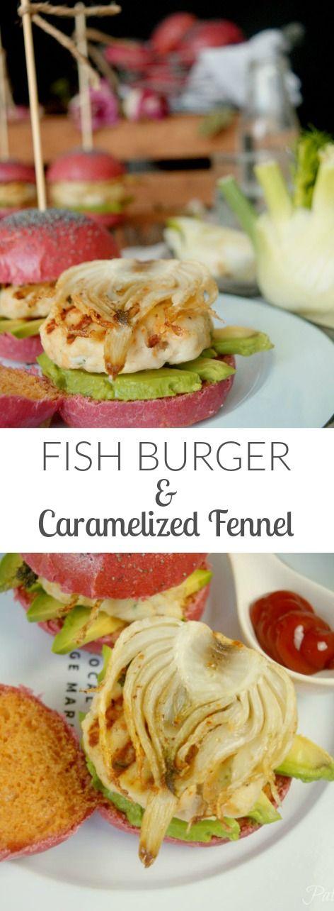 Healthy&Delicious Homemade Fish Burger with Caramelized Fennel!!! Absolutely amazing- In Patty's Cake Hamburguesa de pescado con hinojo caramelizado. Impresionante!!!