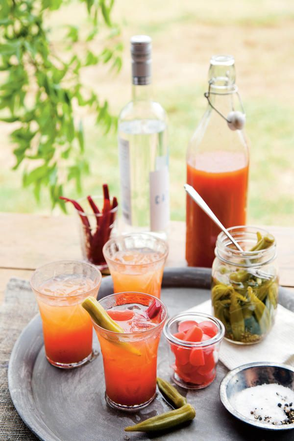 Heirloom Bloody Mary Mix - Spirited Cocktail Recipes - Southernliving. Because canning tomatoes requires extra care, try this refrigerator variety for your Bloody Mary. Trust us: You'll want to drink it immediately anyway.  Recipe:Heirloom Bloody Mary Mix