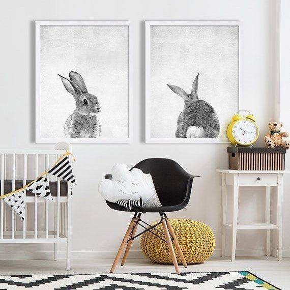 Ravishing Black & Grey Nursery With Mustard Garland & Bunny Wall Paintaings