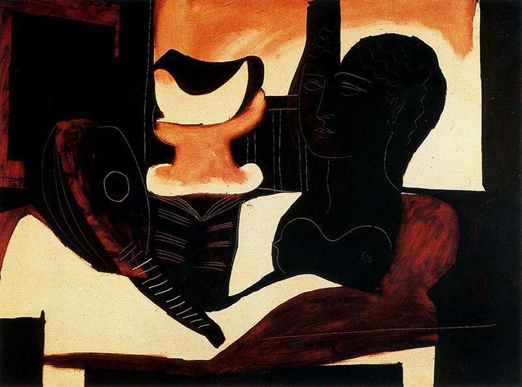 Still life with antique bust, 1925, Pablo Picasso Size: 97x130 cm Medium: oil on canvas