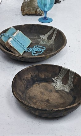 reclaimed wooden bowls inlaid with a silver metal design