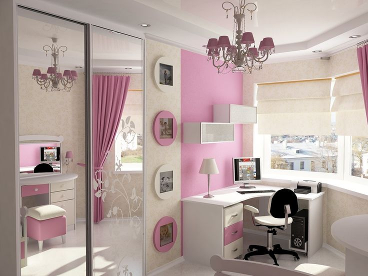 elegant and dressy pink girls bedroom idea with white study table and floating bookshelf and antique chandelier and pink wall paint color 12 charming girls bedroom ideas to inspire you cute