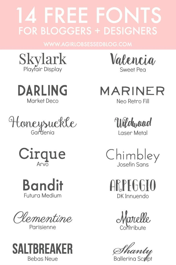 14 Free Fonts for Bloggers + Designers