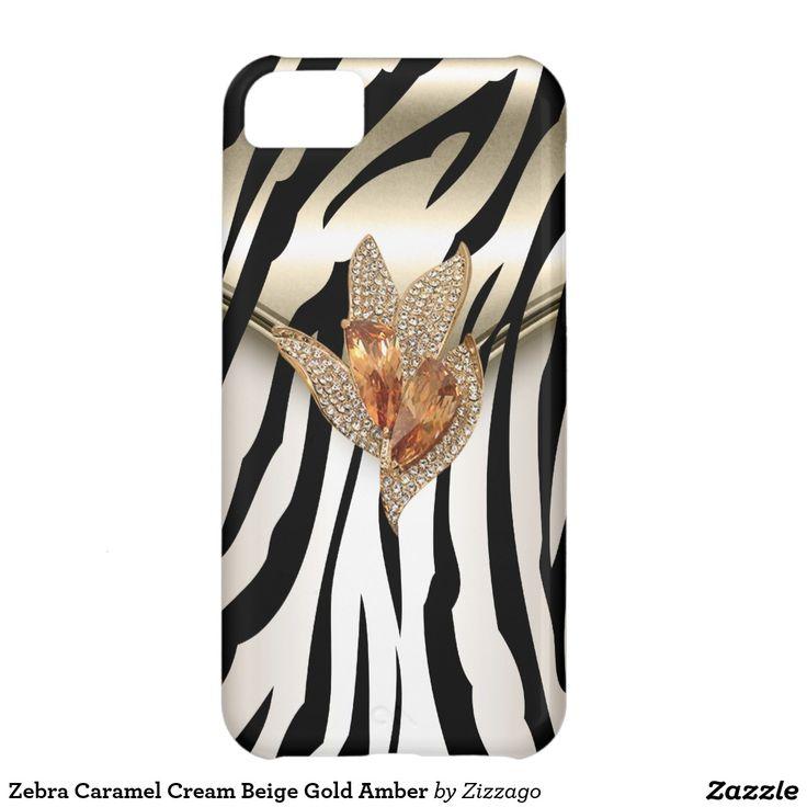 Zebra Caramel Cream Beige Gold Amber iPhone 5C Covers