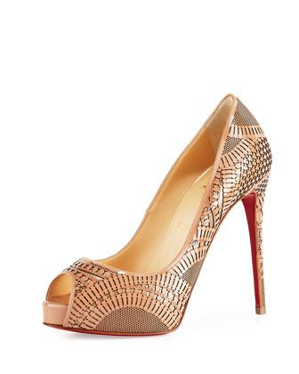 Suellena Laser-Cut Peep-Toe Red Sole Pump, Nude by Christian Louboutin at Neiman Marcus.