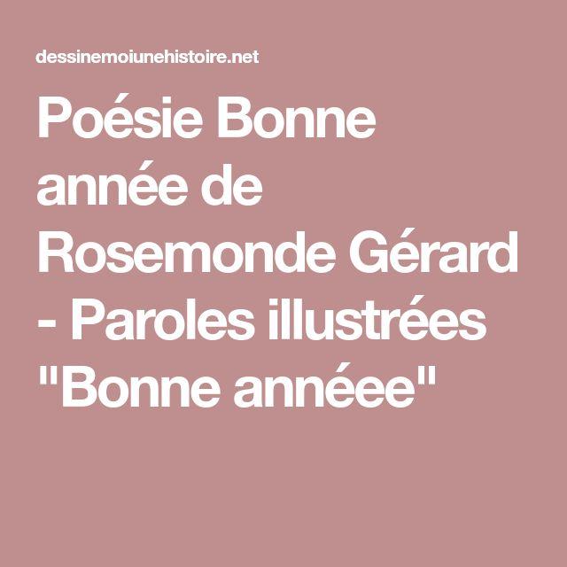 """Poésie Bonne année de Rosemonde Gérard - Paroles illustrées """"Bonne annéee"""""""
