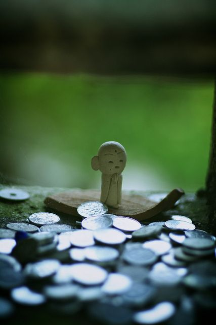 Small Jizo statue at Mimuroto-ji temple, Kyoto, Japan