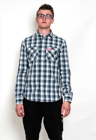 SUPERDRY MEN'S L CASUAL SHIRT CHECKERED BLUE