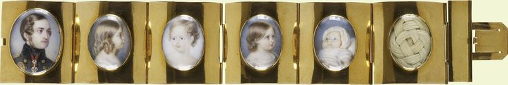 Presented to Queen Victoria by Marie-Amélie, Queen of the French, June 1845. Bracelet with miniatures of Prince Albert, Victoria, Princess Royal, Albert Edward, Prince of Wales, Princess Alice and Prince Alfred |