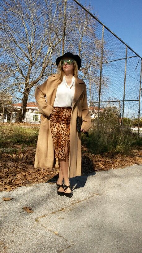 Styling a camel coat with a leooard skirt!!!!Elegant office look!!!