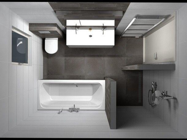 (De Eerste Kamer) Warme vloertegels gecombineerd met tegelstroken uit dezelfde serie vormen een eenheid in de badkamer. Door Anton