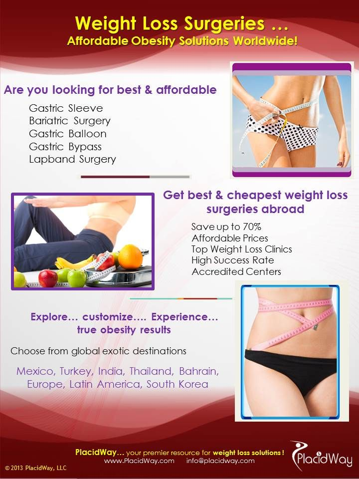 Looking for affordable obesity/bariatric surgery abroad? Placidway will help you to find it. PlacidWay, your premier resource for weight loss solutions! Contact us and ask for a #free quote now! #obesity #weightloss #bariatricsurgery #health #infographics