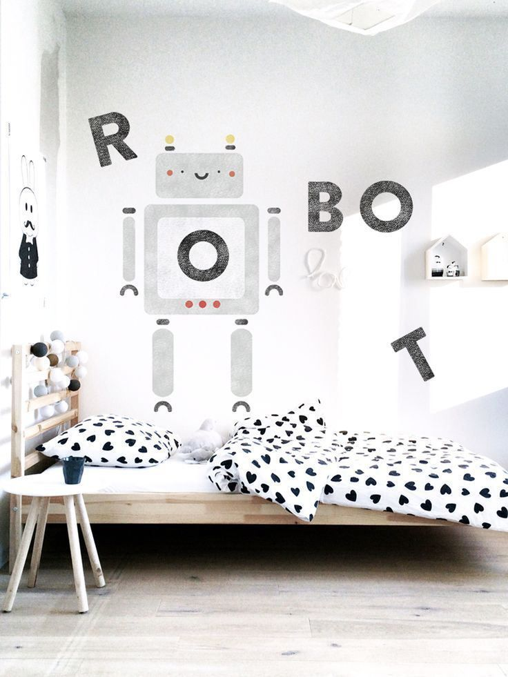 """Amazing kidsroom with cool """"ROBOT"""" diy on the wall. Supercute heart bedding as well. Get inspired by my blog at http://reidunbeate.com"""