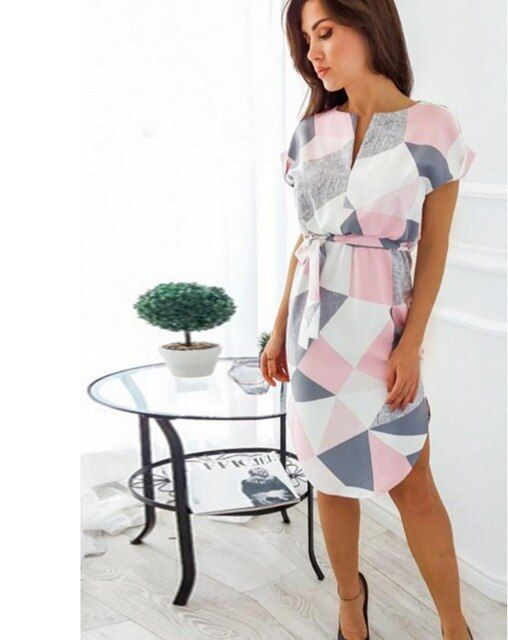 Dresses summer casual vneck floral print geometric pattern belted midi pencil dress short sleeve dress plus size