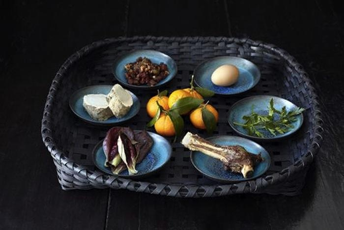 Another beautiful way of creating a Seder plate, here using a basket.
