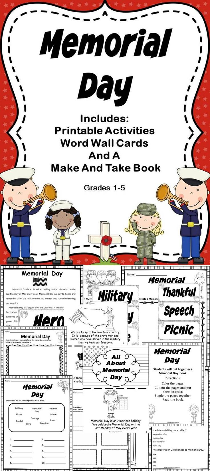 Memorial Day - Includes literacy activities all about Memorial Day! #education