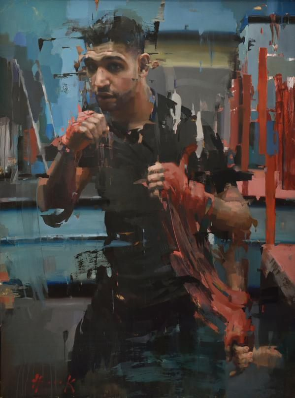 Christian Hook. Amir Khan. Worthy winner of Sky Arts Portrait Artist oty 2014