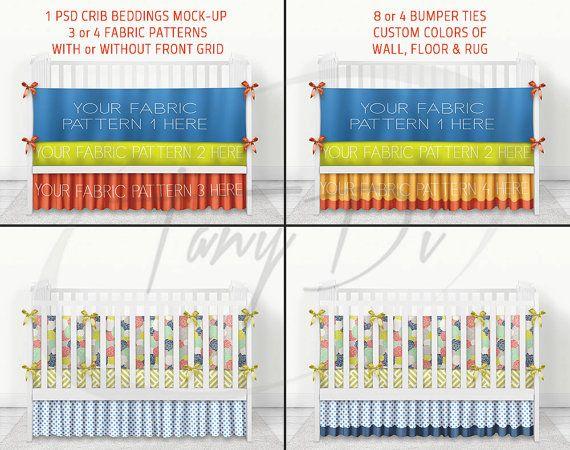 Crib Beddings mockup 4CBM1, White Crib, Bumper Sheet & 2 kind of skirts, Fabric patterns Display Mockup, PSD users only, Custom bg colors