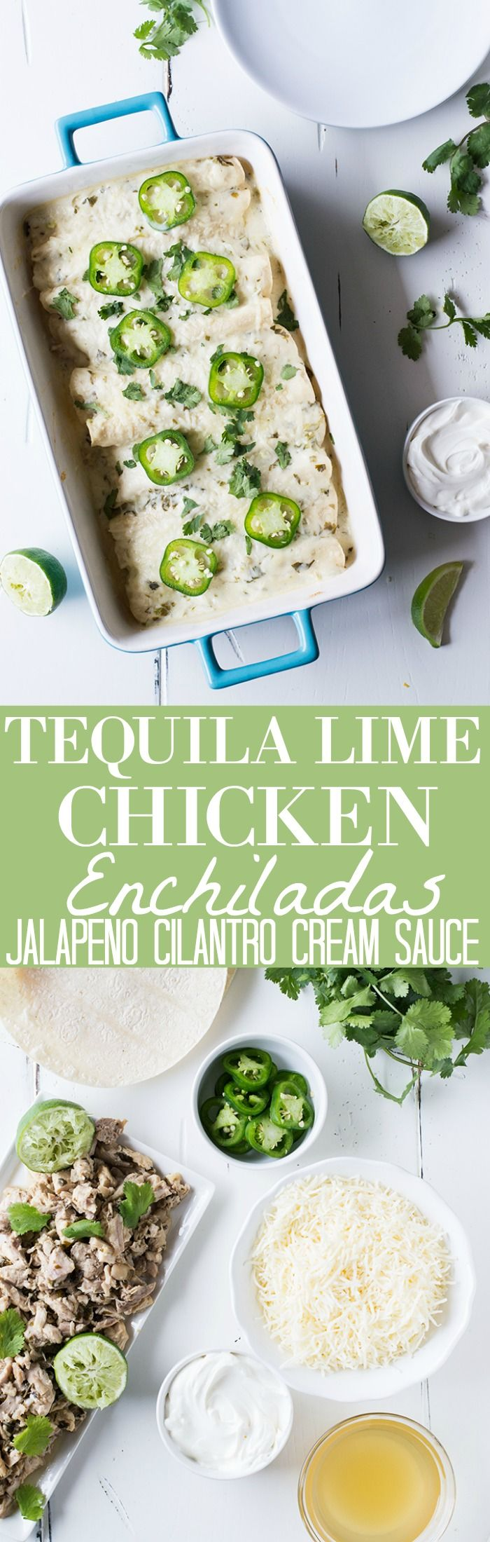 Tequila Lime Chicken Enchiladas with a Creamy Jalapeño Cilantro Sauce.  These enchiladas are SO flavorful!  Full of tender tequila lime chicken, cheese, and topped with a cheesy, creamy jalapeño cilantro sauce.