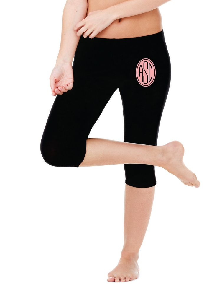 Monogrammed Women workout legging  personalized- gym clothesBlack by 5MonkeysDesigns on Etsy