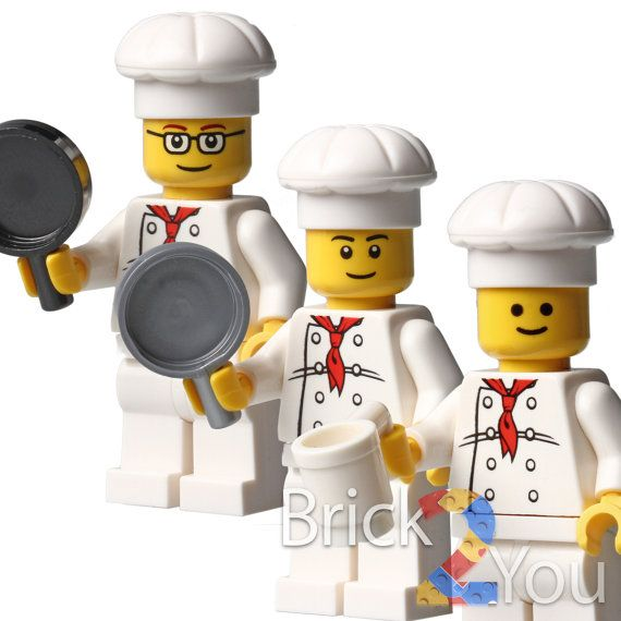 Lego Set/3 Custom Chef Cook Minifigure with Utensil by Brick2you