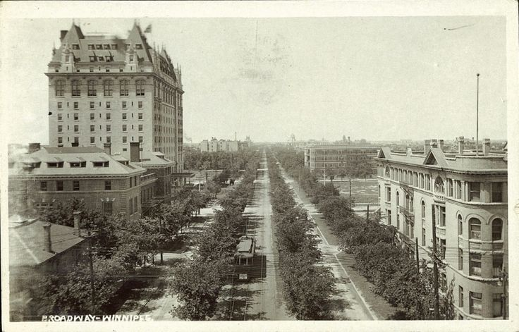 Broadway Looking West from Main Street 1916. The Fort Garry Hotel was built by the Grand Trunk Pacific Railroads in 1913. Charles Melville Hays, the president of the Grand Trunk Pacific Railroads, didn't get to see the finished product because he died when the Titanic sunk in 1912. The Fort Garry is thought of as one of the most haunted hotels in the country — legend has it that a woman hanged herself in room 202.