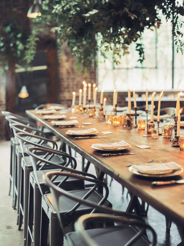 Rustic Industrial Reception with Greenery Chandeliers | Sawyer Baird Photography | Light and Shadow - Still Life Inspired Fine Art Wedding Styling in Moody Winter Shades