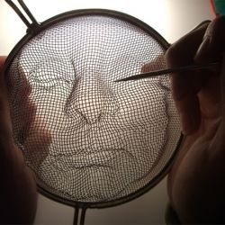 By manipulating kitchen strainers and shining light through them, amazing portraits are created from the resulting shadows.