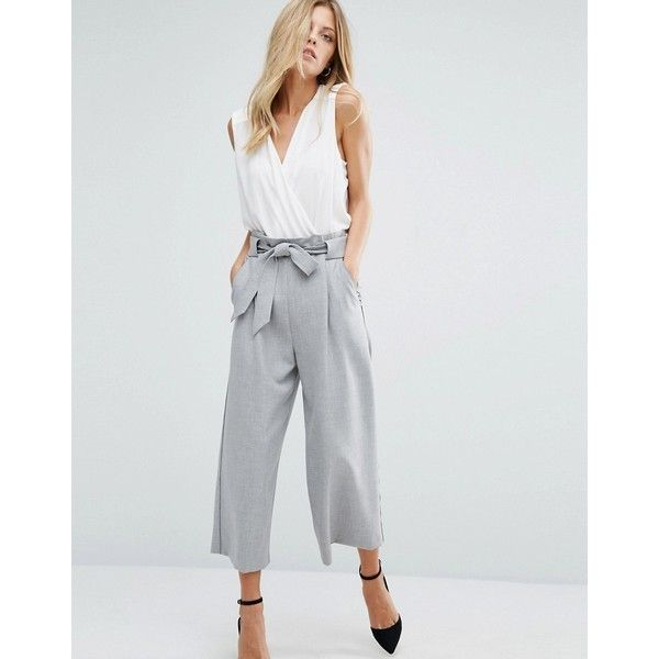 Boss Orange By Hugo Boss Grey Belt Tie Trouser (12,140 INR) ❤ liked on Polyvore featuring pants, capris, grey, wide-leg trousers, grey trousers, high-waisted pants, high waisted pants and high-waisted trousers