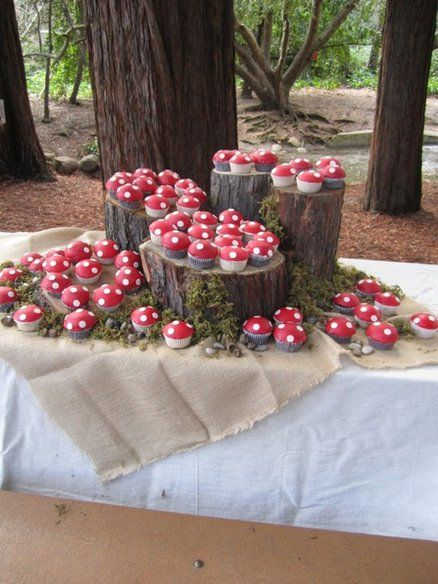 I love this idea! So cute- Mushroom Cupcakes