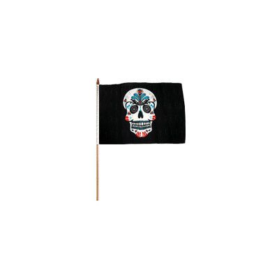 FlagsImporter Sugar Skull Traditional Flag and Flagpole Set