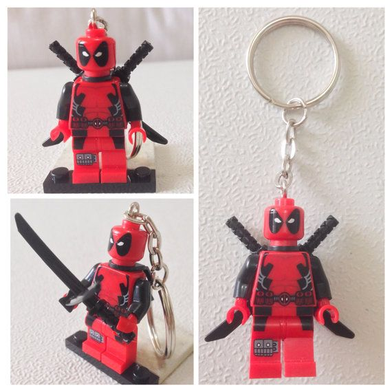 BOGO Buy 1 Get 1 Promo! Lego® DEADPOOL Keychain, Lego Marvel Superhero Keychain, FREE Lego® Minifigure Keychain Party Favors Gift on Etsy, $12.00