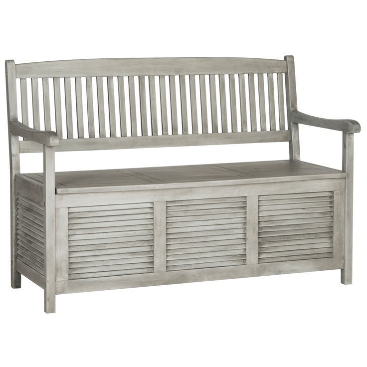 Westmore Gray Wood Outdoor Storage Bench - Style # 1T830