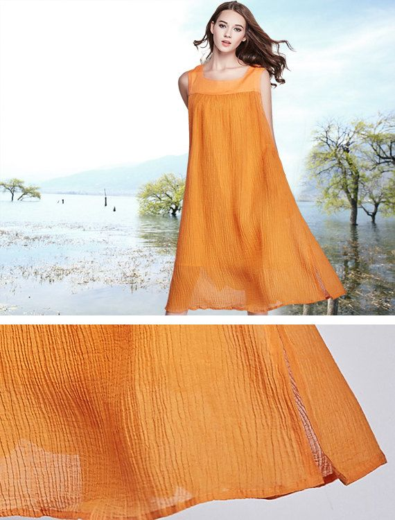 Long Linen Dress in Orange Maxi Sundress Contrast by camelliatune