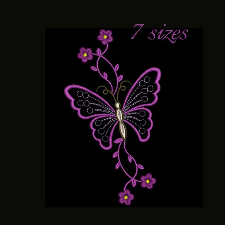 Butterfly embroidery design,Stitched flower,Flowers pattern,instant download,Flower machine embroidery,design,digital download by GretaembroideryShop on Etsy