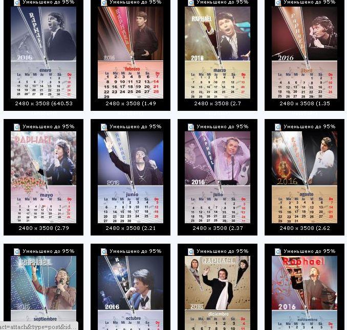 calendarios para el año 2016