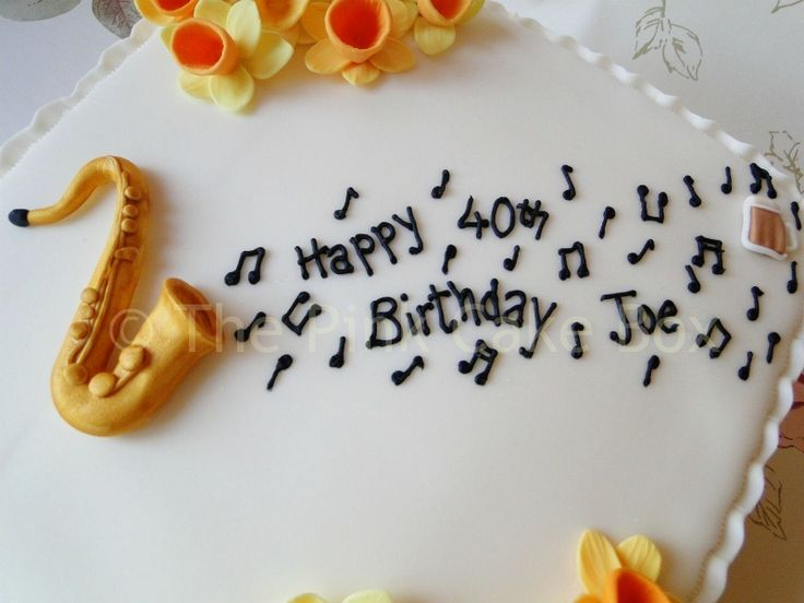 saxophone cake topper musical notes