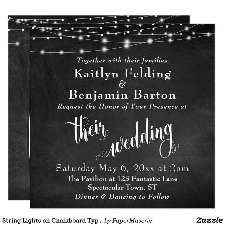 "String Lights on Chalkboard Typography Wedding Card This sophisticated but rustic wedding card features a textured chalkboard background image with strings of white light strings. I've added an elegant, swirling script font from my collection to render graphics depicting the words ""their"" and ""wedding""; on the back I've placed the word ""love"". Your personal details are easily added for customizing this template as little or much as you wish. Use the template fields to enter your personal…"
