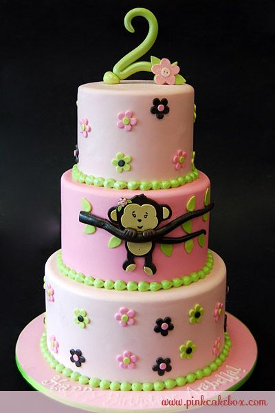 Monkey Birthday CakeMonkeys Birthday, Cake Ideas, 1St Birthday, Girls Birthday, 2Nd Birthday, Birthday Cake, Pink Cake, Monkeys Cake, Baby Shower