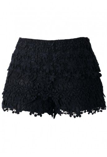 Black crochet shorts:$29.90 @chicwish