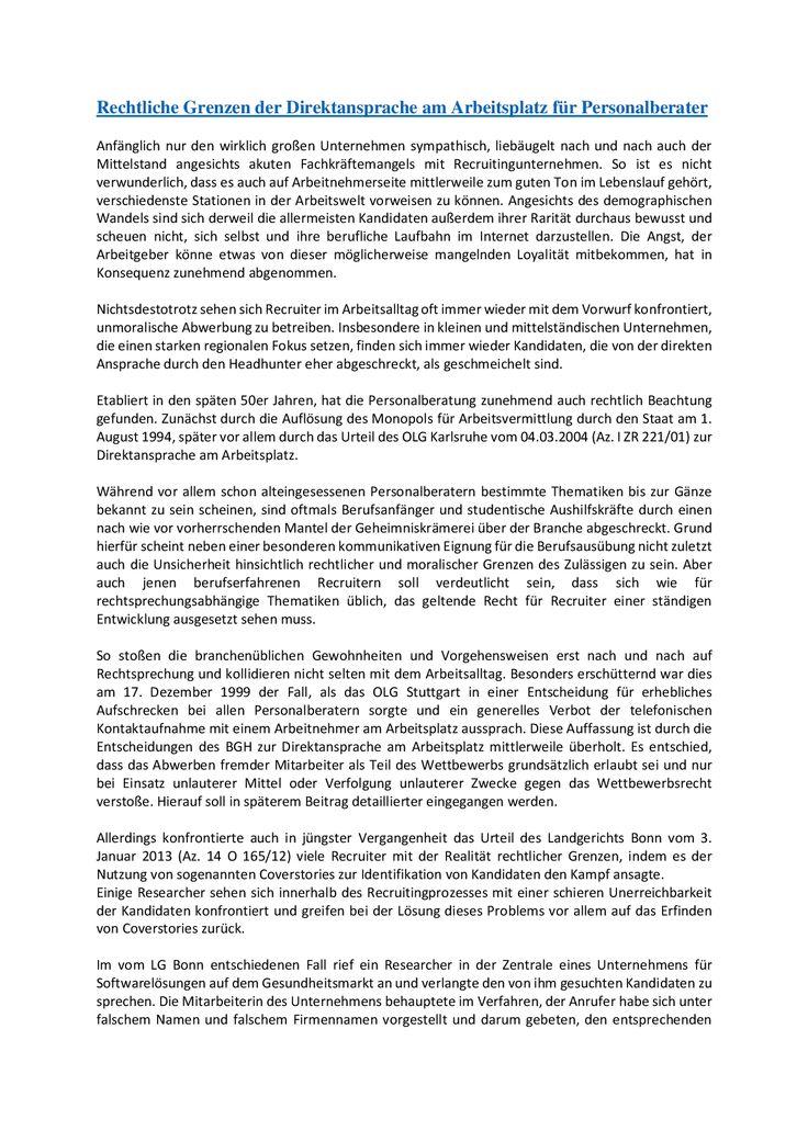 Rechtliche Grenzen der Direktansprache am Arbeitsplatz für Personalberater - Teil 1  mehr unter www.kanzlei-job.de und blog.kanzlei-job.de
