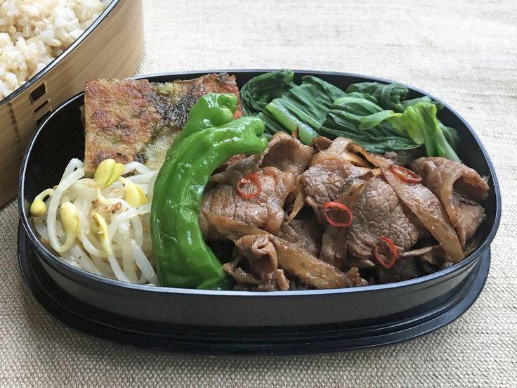 牛牛蒡コチュジャン炒、獅子唐揚浸、子大豆もやしナムル、馬鈴薯チヂミ(あおさ、檸檬醤油)