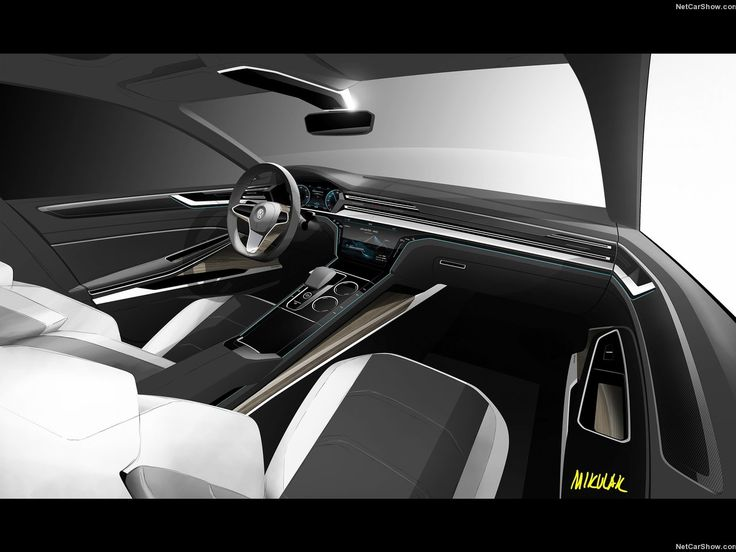 VW Sport Coupe GTE Concept Interior Design SketchesInterior RenderingCar