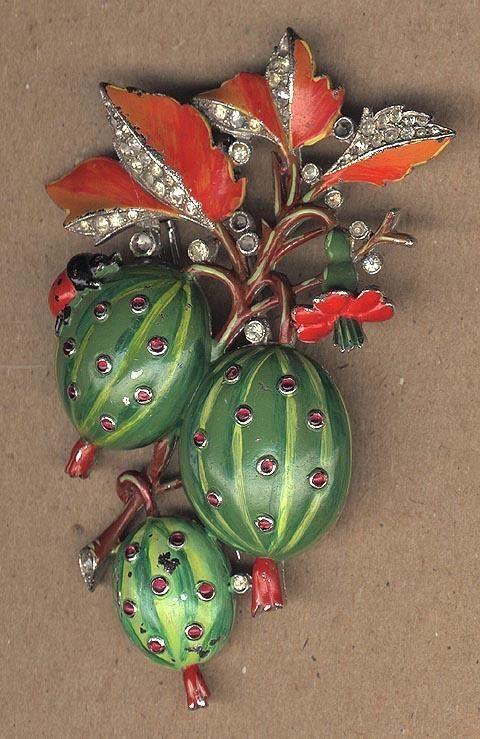 Beautiful Vintage Handpainted Trifari Fruit & Vine Pin w/ Ladybug & Rhinestones Sold $886.~