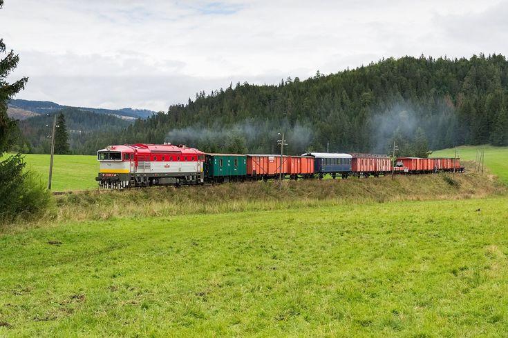 Brejlovec projíždí s historickým nákladním vlakem.