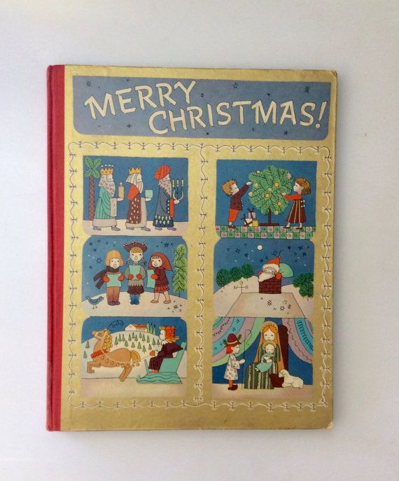 1943 Large Harbound Merry CHRISTMAS Childrens by RevivalVintageATX