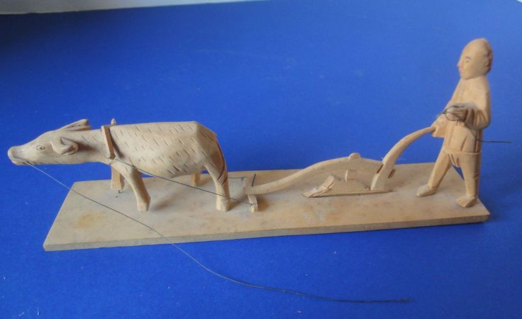 Vintage Handcarved Wood Chinese Farmer With Plow And Ox
