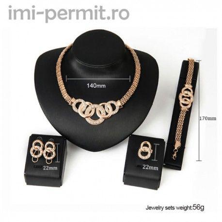 Set bijuterii format din colier, bratara, inel, pereche cercei